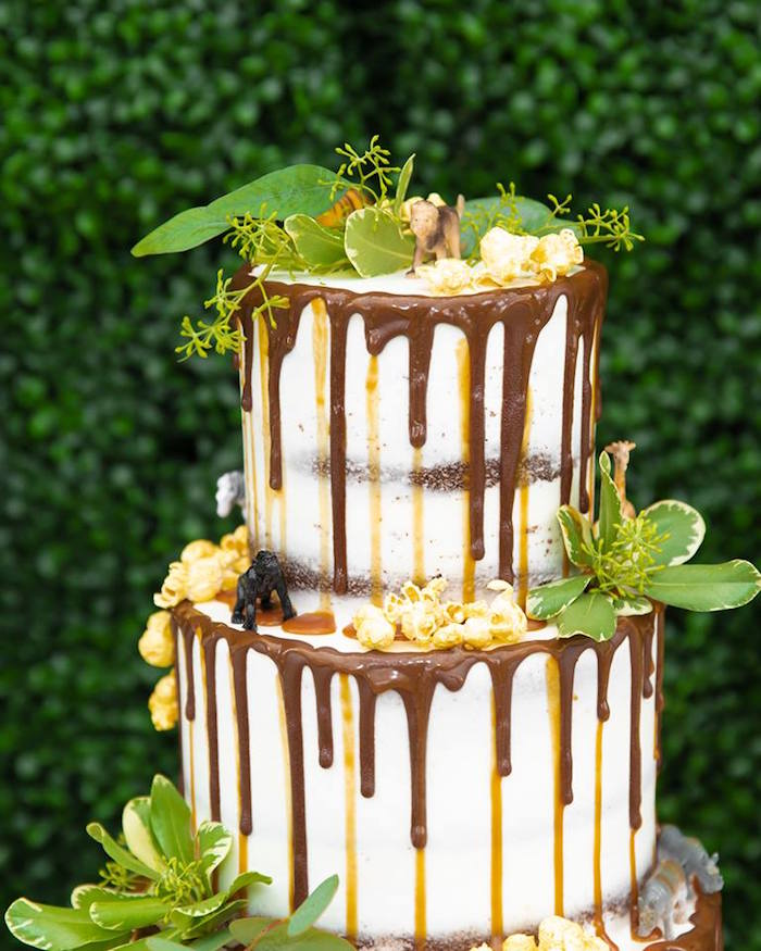 Safari-inspired Drip Cake from a Safari Wild ONE Birthday Party on Kara's Party Ideas | KarasPartyIdeas.com (43)