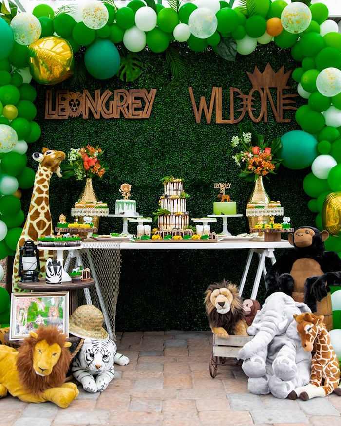 Safari Party Table from a Safari Wild ONE Birthday Party on Kara's Party Ideas | KarasPartyIdeas.com (24)