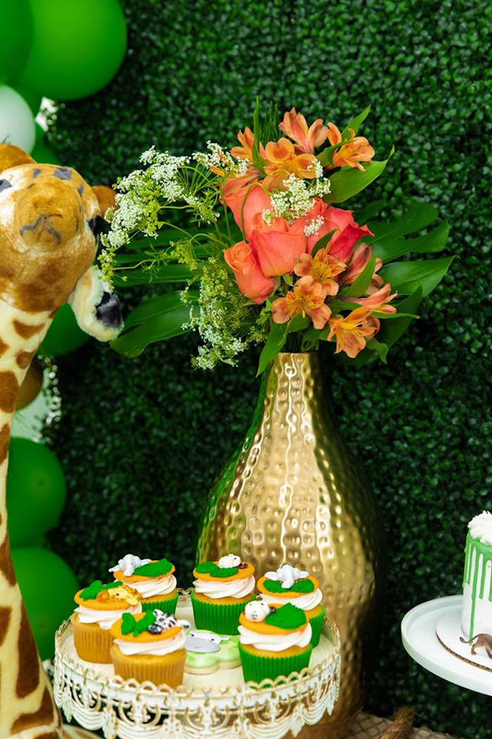 Safari Party Blooms from a Safari Wild ONE Birthday Party on Kara's Party Ideas | KarasPartyIdeas.com (23)