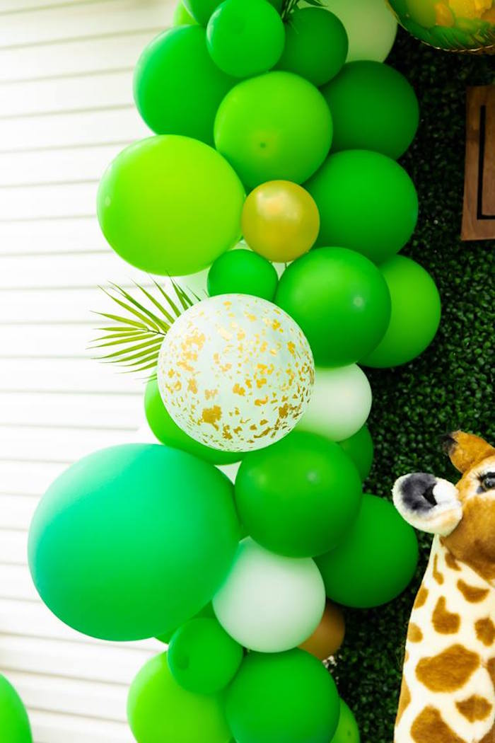 Safari-inspired Balloon Garland from a Safari Wild ONE Birthday Party on Kara's Party Ideas | KarasPartyIdeas.com (22)
