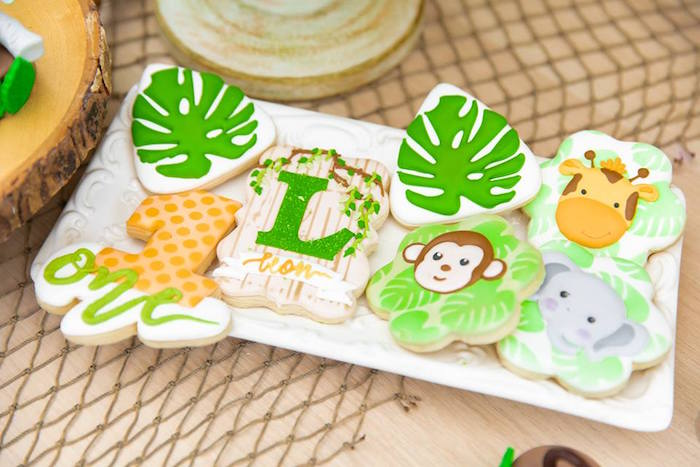 Safari Party Cookies from a Safari Wild ONE Birthday Party on Kara's Party Ideas | KarasPartyIdeas.com (20)