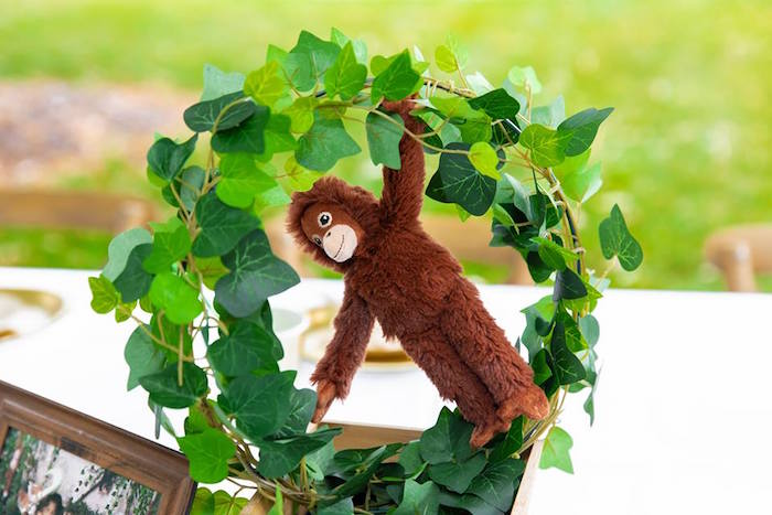 Monkey Wreath Table Centerpiece from a Safari Wild ONE Birthday Party on Kara's Party Ideas | KarasPartyIdeas.com (19)