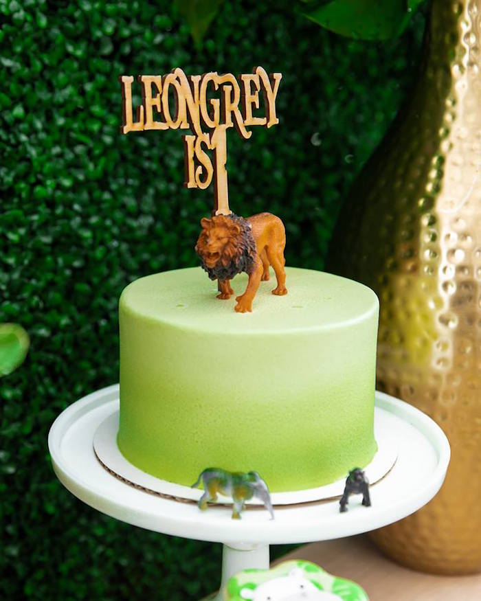 Lion-topped Safari Cake from a Safari Wild ONE Birthday Party on Kara's Party Ideas | KarasPartyIdeas.com (18)