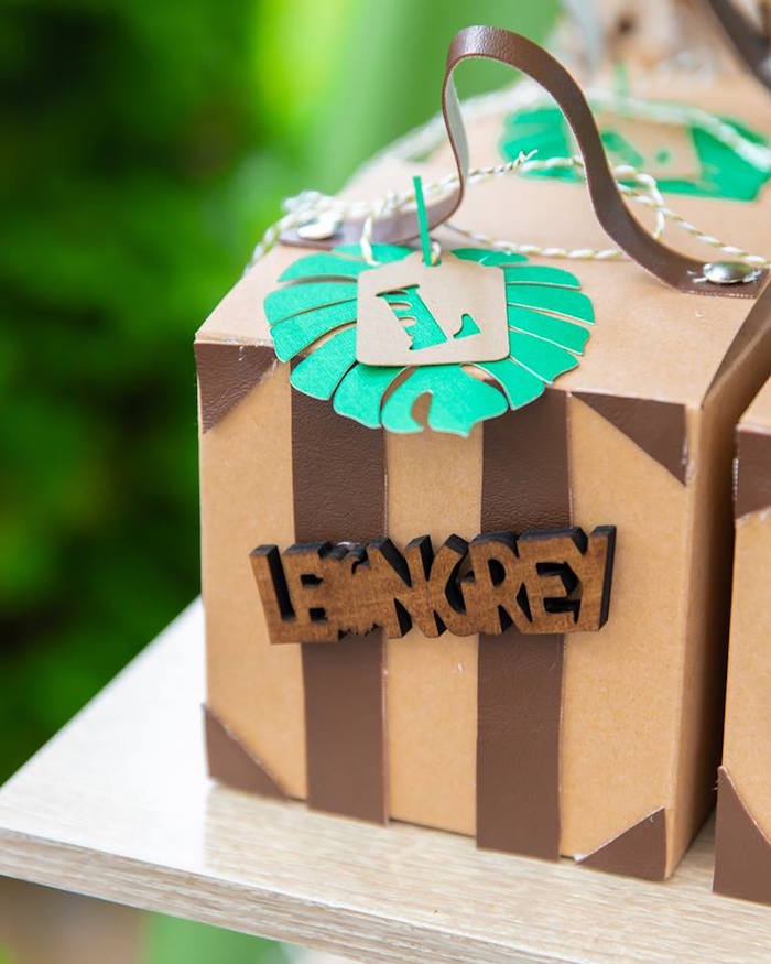 Vintage Suitcase-inspired Safari Favor Box from a Safari Wild ONE Birthday Party on Kara's Party Ideas | KarasPartyIdeas.com (17)