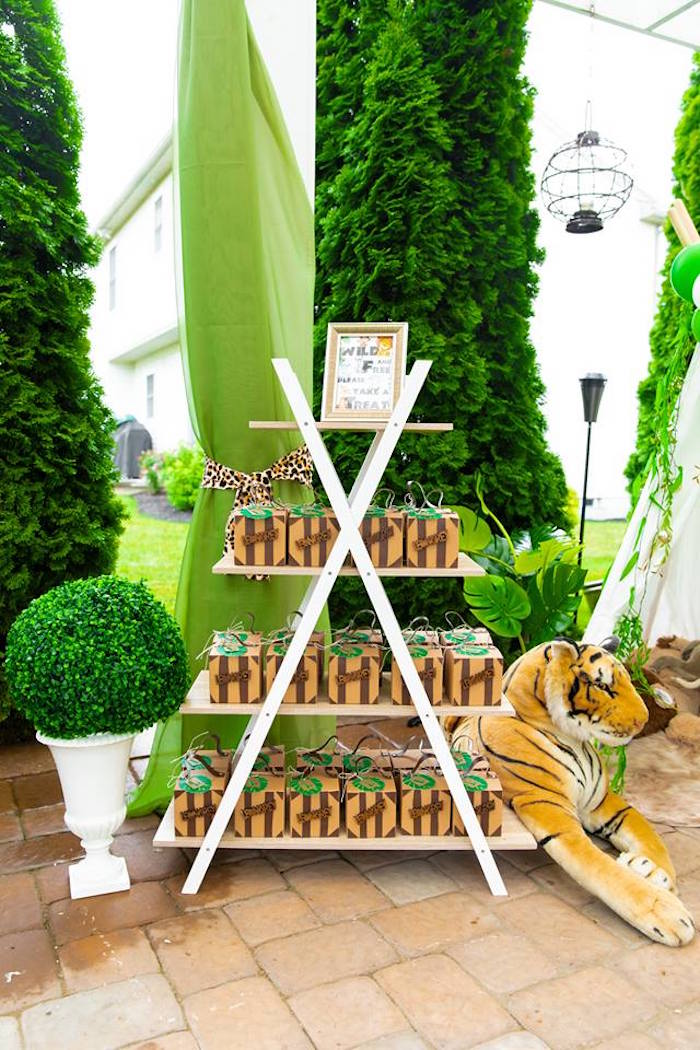 Ladder Favor Box Shelf from a Safari Wild ONE Birthday Party on Kara's Party Ideas | KarasPartyIdeas.com (16)