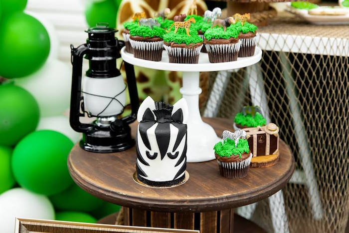 Mini Zebra Cake + Cupcakes from a Safari Wild ONE Birthday Party on Kara's Party Ideas | KarasPartyIdeas.com (15)