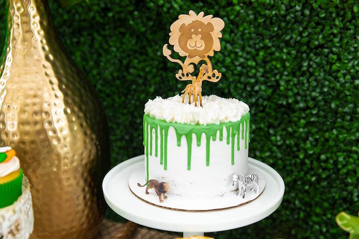 Safari-inspired Drip Cake from a Safari Wild ONE Birthday Party on Kara's Party Ideas | KarasPartyIdeas.com (14)