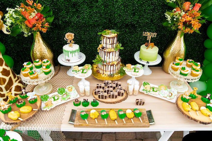 Safari-inspired Dessert Table from a Safari Wild ONE Birthday Party on Kara's Party Ideas | KarasPartyIdeas.com (13)