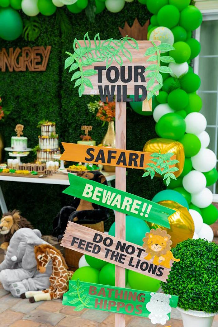 Wooden Safari Party Sign from a Safari Wild ONE Birthday Party on Kara's Party Ideas | KarasPartyIdeas.com (11)