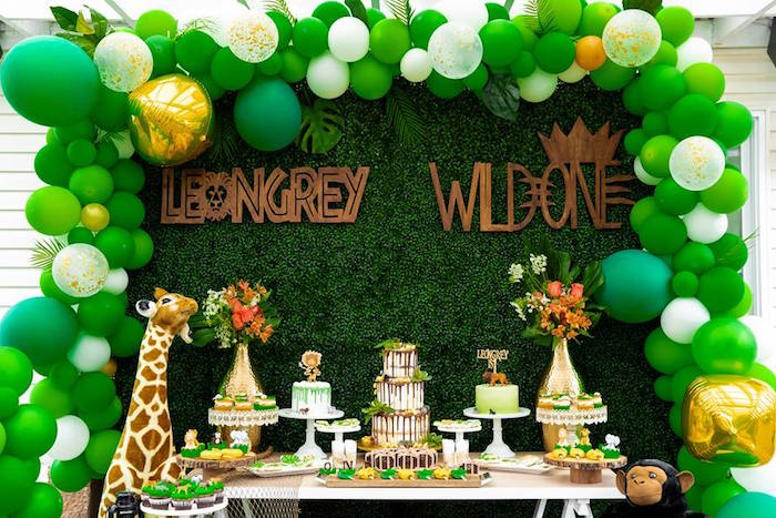 Safari Party Table from a Safari Wild ONE Birthday Party on Kara's Party Ideas | KarasPartyIdeas.com (9)
