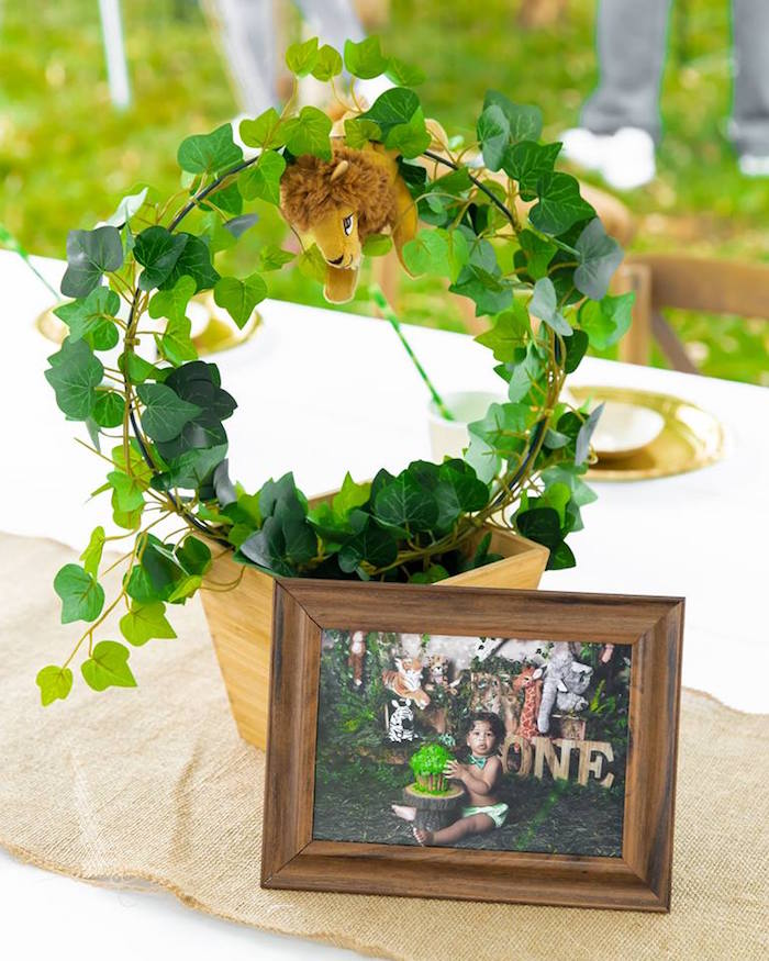 Safari-inspired Table Centerpiece from a Safari Wild ONE Birthday Party on Kara's Party Ideas | KarasPartyIdeas.com (7)