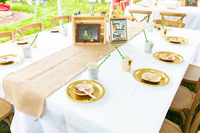 Rustic Glam Safari Party Guest Table from a Safari Wild ONE Birthday Party on Kara's Party Ideas | KarasPartyIdeas.com (6)