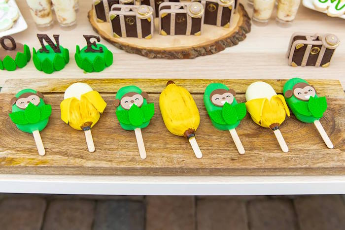 Monkey Themed Cake Popsicles from a Safari Wild ONE Birthday Party on Kara's Party Ideas | KarasPartyIdeas.com (41)