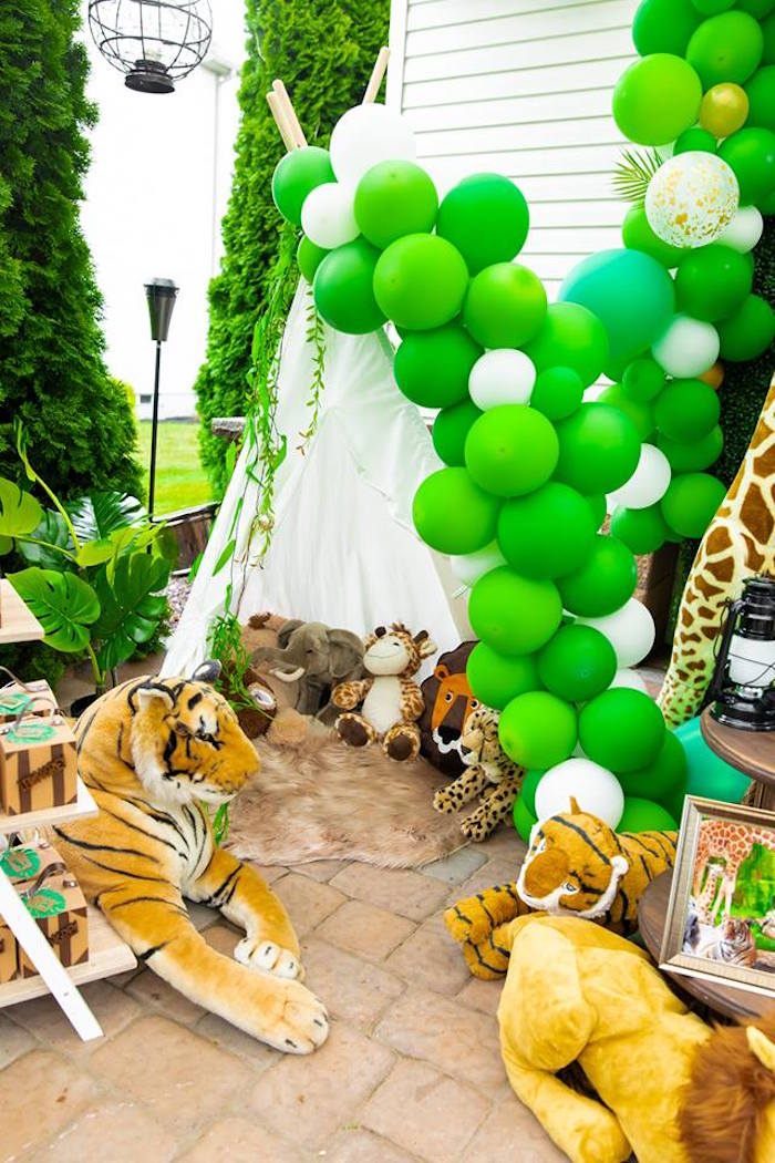 Safari Party Tent from a Safari Wild ONE Birthday Party on Kara's Party Ideas | KarasPartyIdeas.com (40)