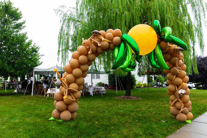 Palm Tree Balloon Arch from a Safari Wild ONE Birthday Party on Kara's Party Ideas | KarasPartyIdeas.com (38)