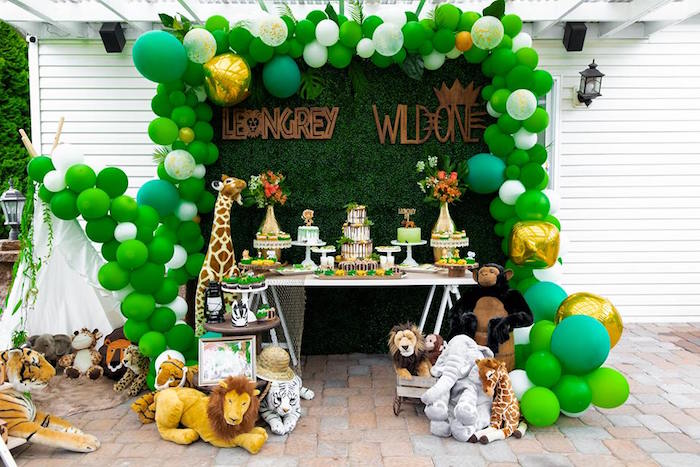 Safari Party Table from a Safari Wild ONE Birthday Party on Kara's Party Ideas | KarasPartyIdeas.com (37)