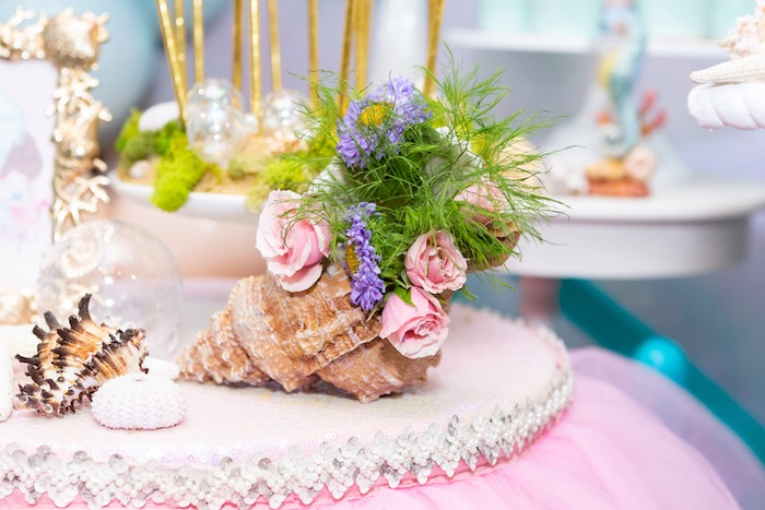 Conk Shell Florals from a Sparkles Under the Sea Party on Kara's Party Ideas | KarasPartyIdeas.com (16)