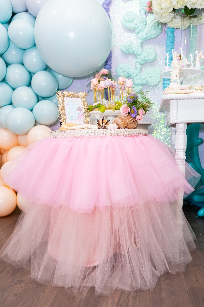 Tutu Under the Sea Party Table from a Sparkles Under the Sea Party on Kara's Party Ideas | KarasPartyIdeas.com (13)