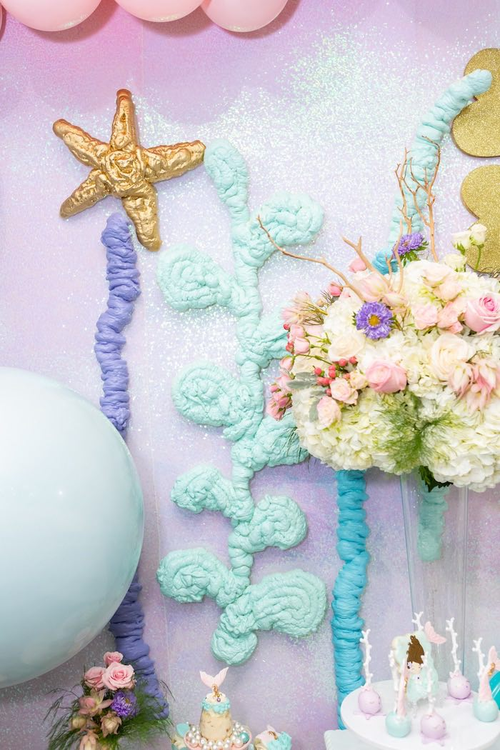 Coral Reef Decor from a Sparkles Under the Sea Party on Kara's Party Ideas | KarasPartyIdeas.com (12)