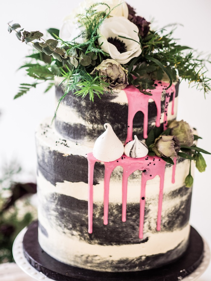 Black & White Naked Drip Cake from a Spooky Swan Soiree on Kara's Party Ideas | KarasPartyIdeas.com (30)