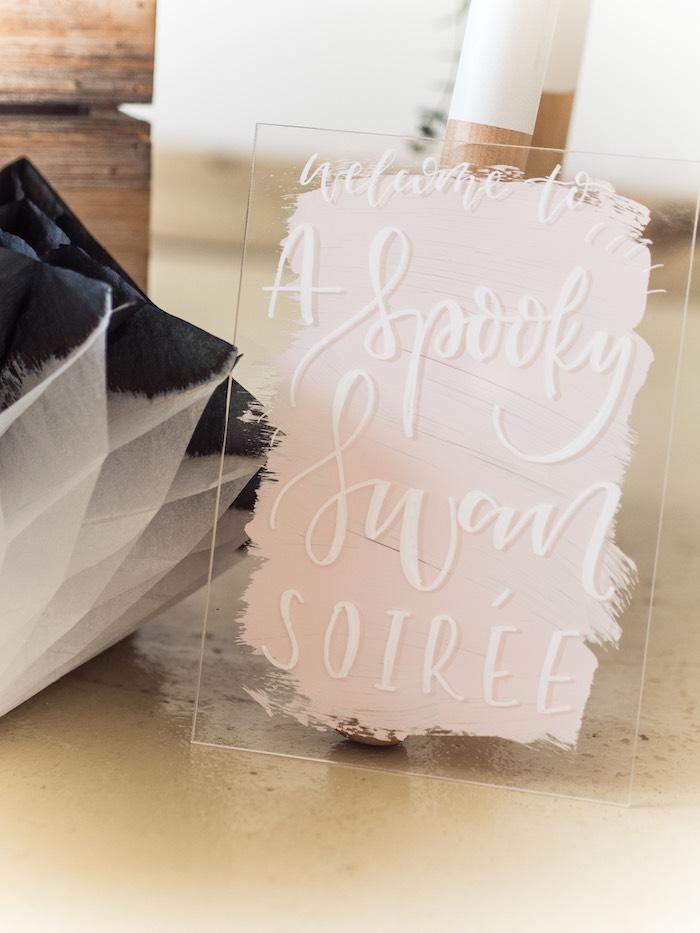 Acrylic Spooky Swan Sign from a Spooky Swan Soiree on Kara's Party Ideas | KarasPartyIdeas.com (28)