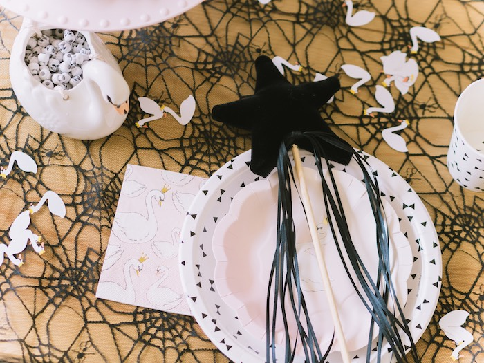 Swan-inspired Table Setting from a Spooky Swan Soiree on Kara's Party Ideas | KarasPartyIdeas.com (25)
