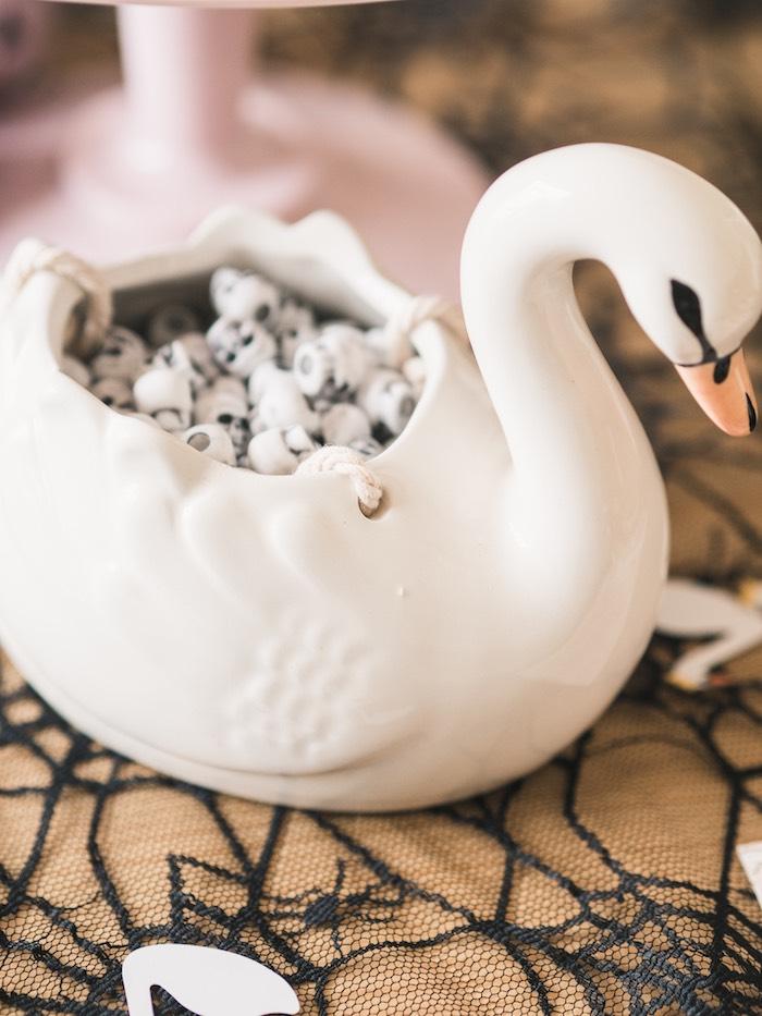 Swan Dish from a Spooky Swan Soiree on Kara's Party Ideas | KarasPartyIdeas.com (23)