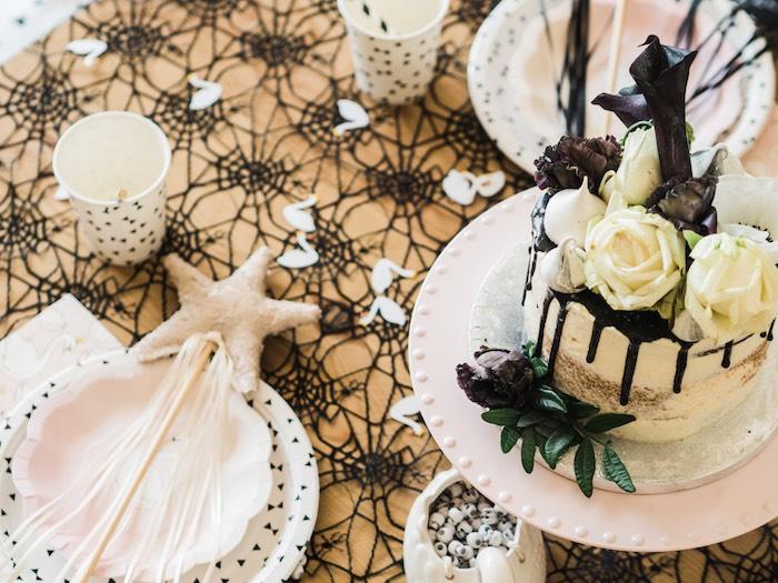 Swan Halloween Party Table from a Spooky Swan Soiree on Kara's Party Ideas | KarasPartyIdeas.com (16)