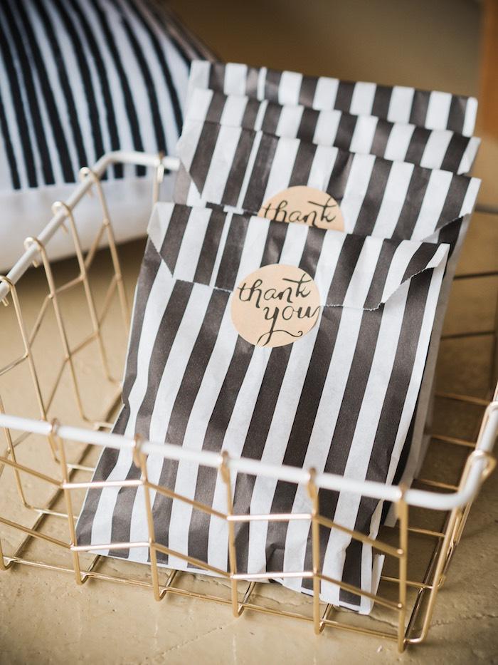 Black & White Striped Favor Sacks from a Spooky Swan Soiree on Kara's Party Ideas | KarasPartyIdeas.com (11)