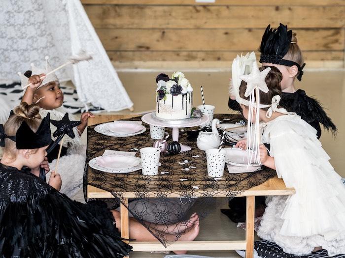Halloween Party Table from a Spooky Swan Soiree on Kara's Party Ideas | KarasPartyIdeas.com (8)