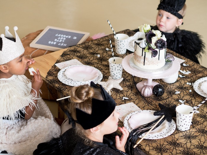 Guest Table from a Spooky Swan Soiree on Kara's Party Ideas | KarasPartyIdeas.com (6)