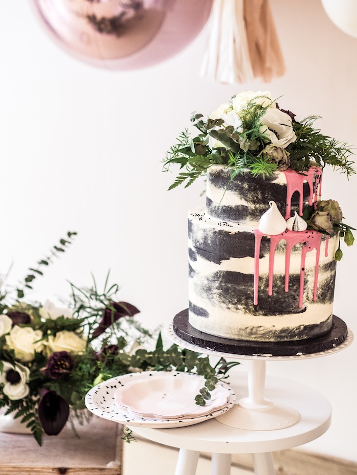Black & White Naked Drip Cake from a Spooky Swan Soiree on Kara's Party Ideas | KarasPartyIdeas.com (33)