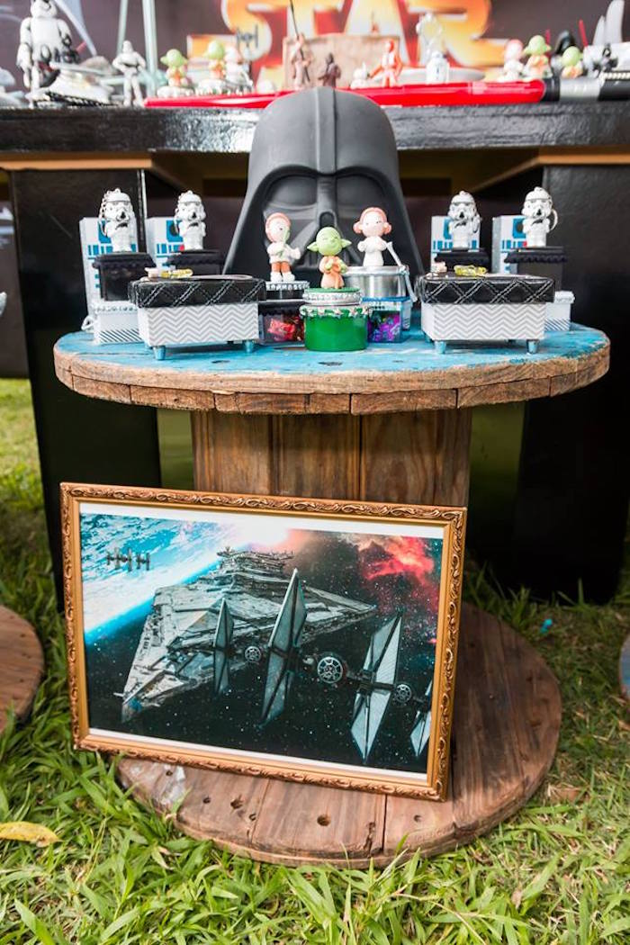 Darth Vader Spool Party Table from a Star Wars Birthday Party on Kara's Party Ideas | KarasPartyIdeas.com (25)