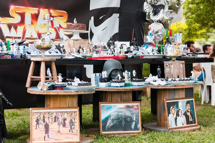 Star Wars Themed Spool Party Tables from a Star Wars Birthday Party on Kara's Party Ideas | KarasPartyIdeas.com (20)