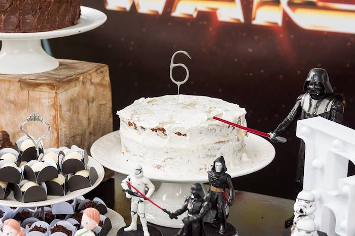 White Moon-inspired Cake from a Star Wars Birthday Party on Kara's Party Ideas | KarasPartyIdeas.com (12)