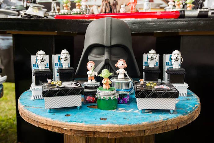 Star Wars Spool Party Table from a Star Wars Birthday Party on Kara's Party Ideas | KarasPartyIdeas.com (7)