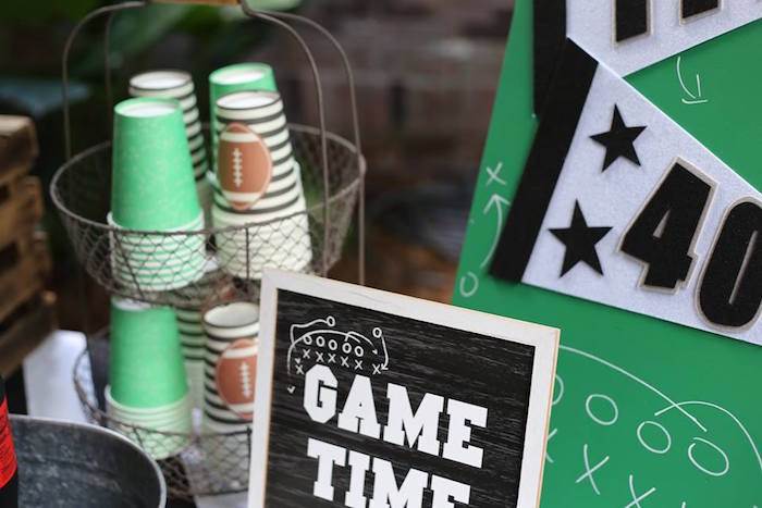 Game Time Sign from a Tailgate Football 40th Birthday Party on Kara's Party Ideas | KarasPartyIdeas.com (10)