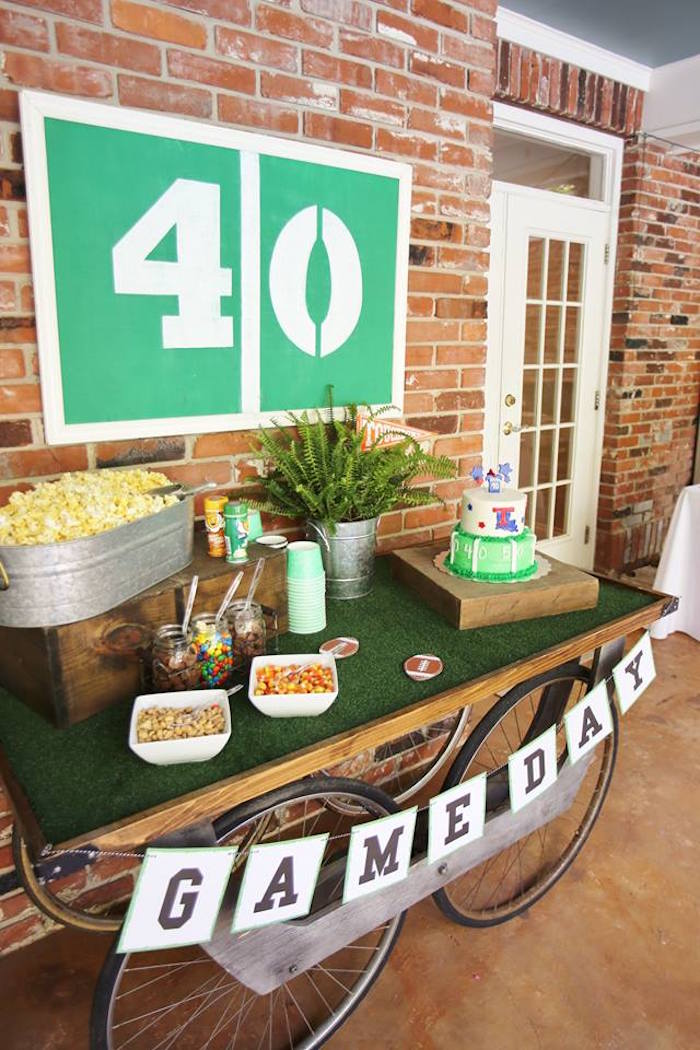 Football Themed - Game Day Party Table from a Tailgate Football 40th Birthday Party on Kara's Party Ideas | KarasPartyIdeas.com (9)