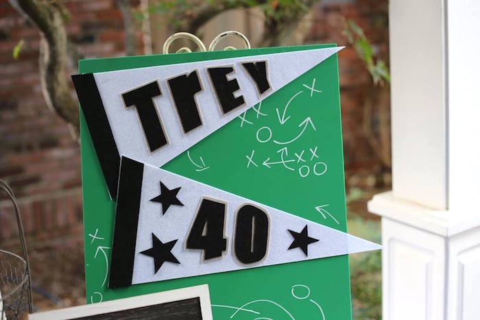 Football-inspired Party Signage from a Tailgate Football 40th Birthday Party on Kara's Party Ideas | KarasPartyIdeas.com (6)
