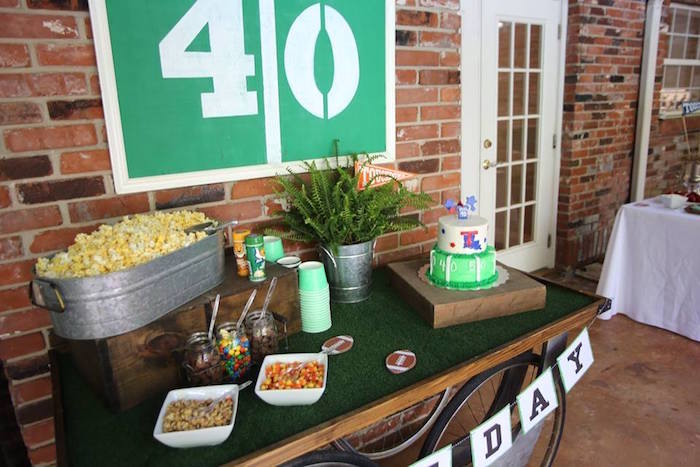 Football Themed Party Table from a Tailgate Football 40th Birthday Party on Kara's Party Ideas | KarasPartyIdeas.com (5)