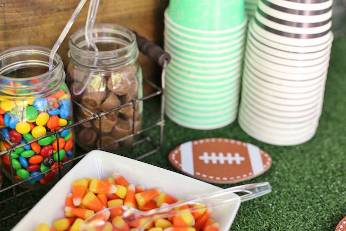 Candy in Jars from a Tailgate Football 40th Birthday Party on Kara's Party Ideas | KarasPartyIdeas.com (15)