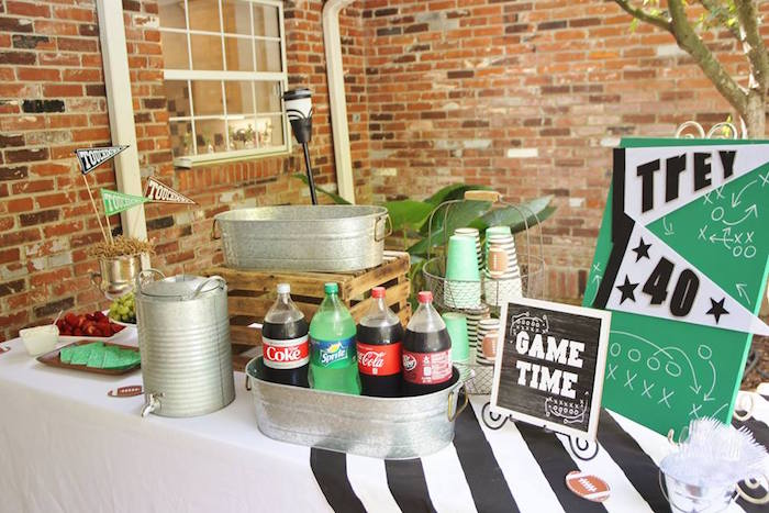 Game Time Beverage Table from a Tailgate Football 40th Birthday Party on Kara's Party Ideas | KarasPartyIdeas.com (14)