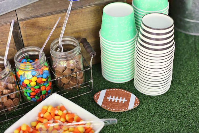 Snack Cups + Sweets from a Tailgate Football 40th Birthday Party on Kara's Party Ideas | KarasPartyIdeas.com (13)