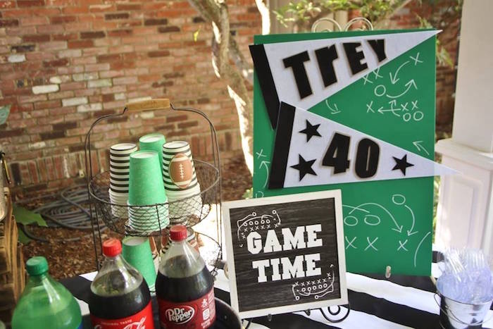 Game Time Party Table from a Tailgate Football 40th Birthday Party on Kara's Party Ideas | KarasPartyIdeas.com (12)