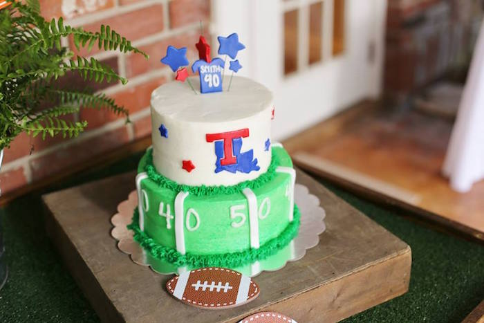 Football Themed Birthday Cake from a Tailgate Football 40th Birthday Party on Kara's Party Ideas | KarasPartyIdeas.com (11)
