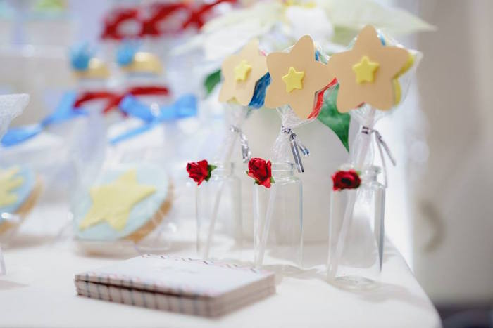 Star Lollipops in Rose Bottles from The Little Prince Birthday Party on Kara's Party Ideas | KarasPartyIdeas.com (22)