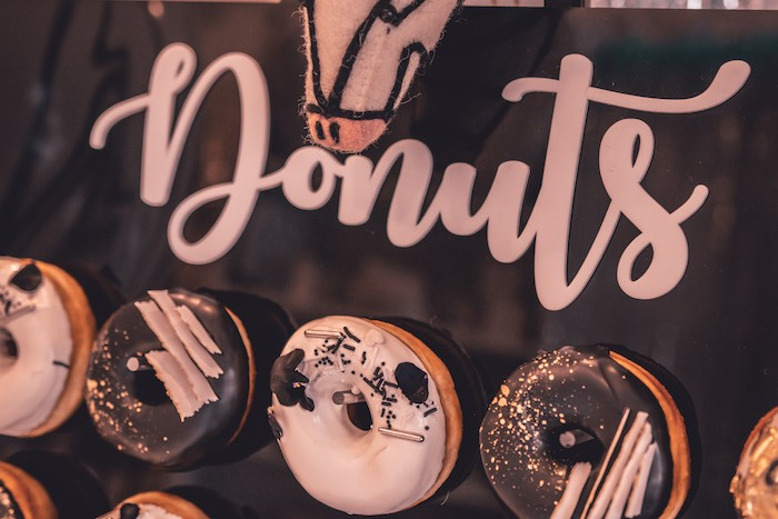 Monochromatic Donut Board from a Vintage Halloween Carnival Party on Kara's Party Ideas | KarasPartyIdeas.com (20)