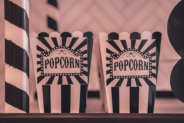 Monochromatic Popcorn Boxes from a Vintage Halloween Carnival Party on Kara's Party Ideas | KarasPartyIdeas.com (17)