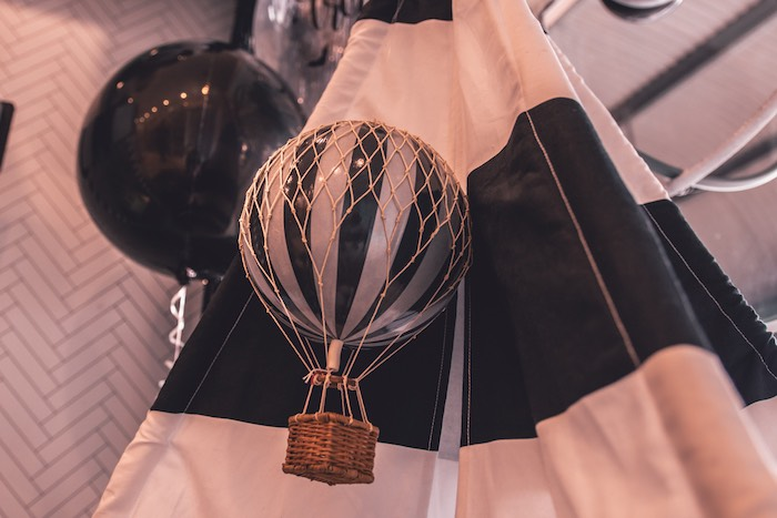 Monochromatic Hot Air Balloon Decoration from a Vintage Halloween Carnival Party on Kara's Party Ideas | KarasPartyIdeas.com (10)