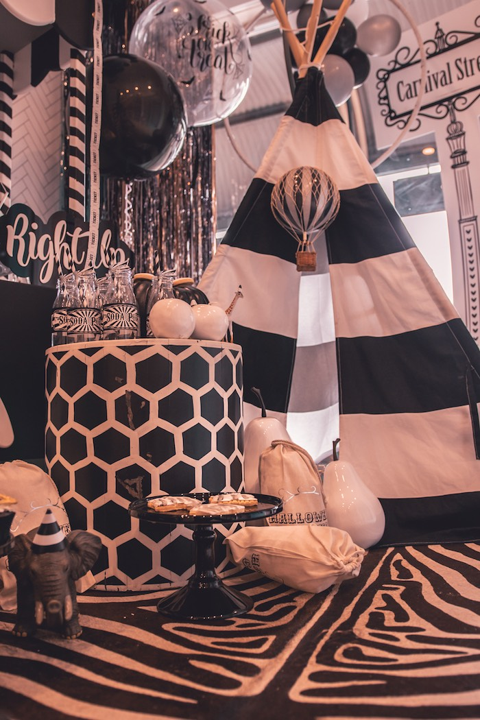 Black & White Halloween Decor from a Vintage Halloween Carnival Party on Kara's Party Ideas | KarasPartyIdeas.com (7)